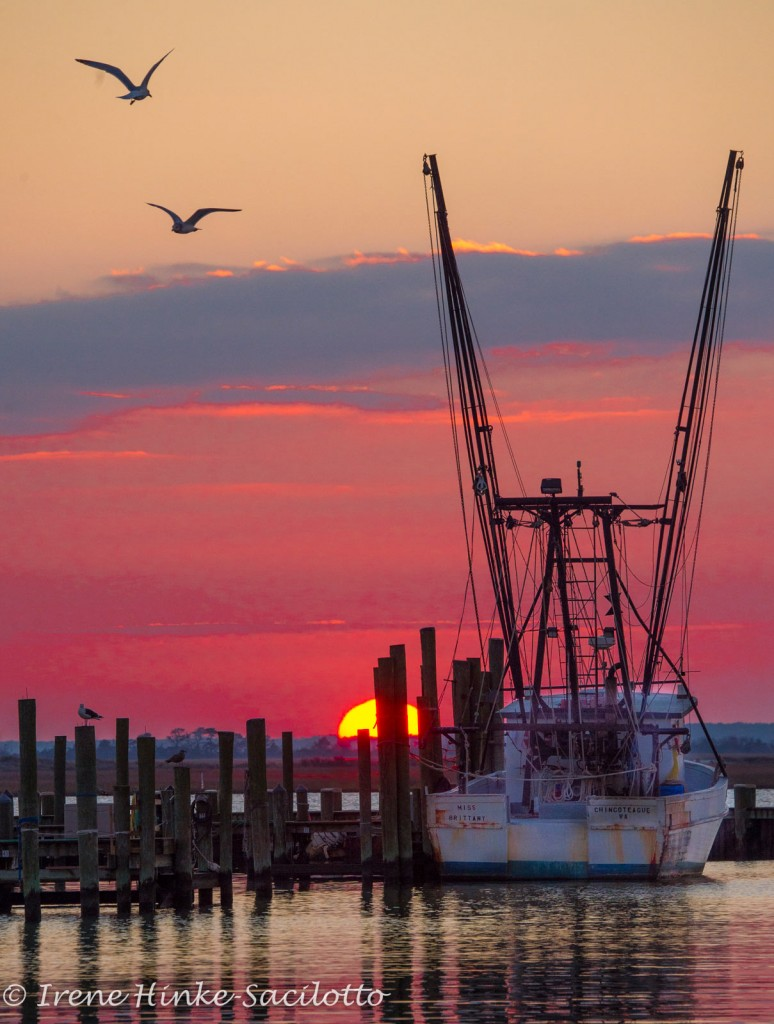 Trawler at sunset on Chincoteague Shot in 2015 on nature photography workshop on Chincoteague.