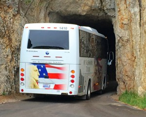 Tour Bus passing through Needles Eye Tunnel.
