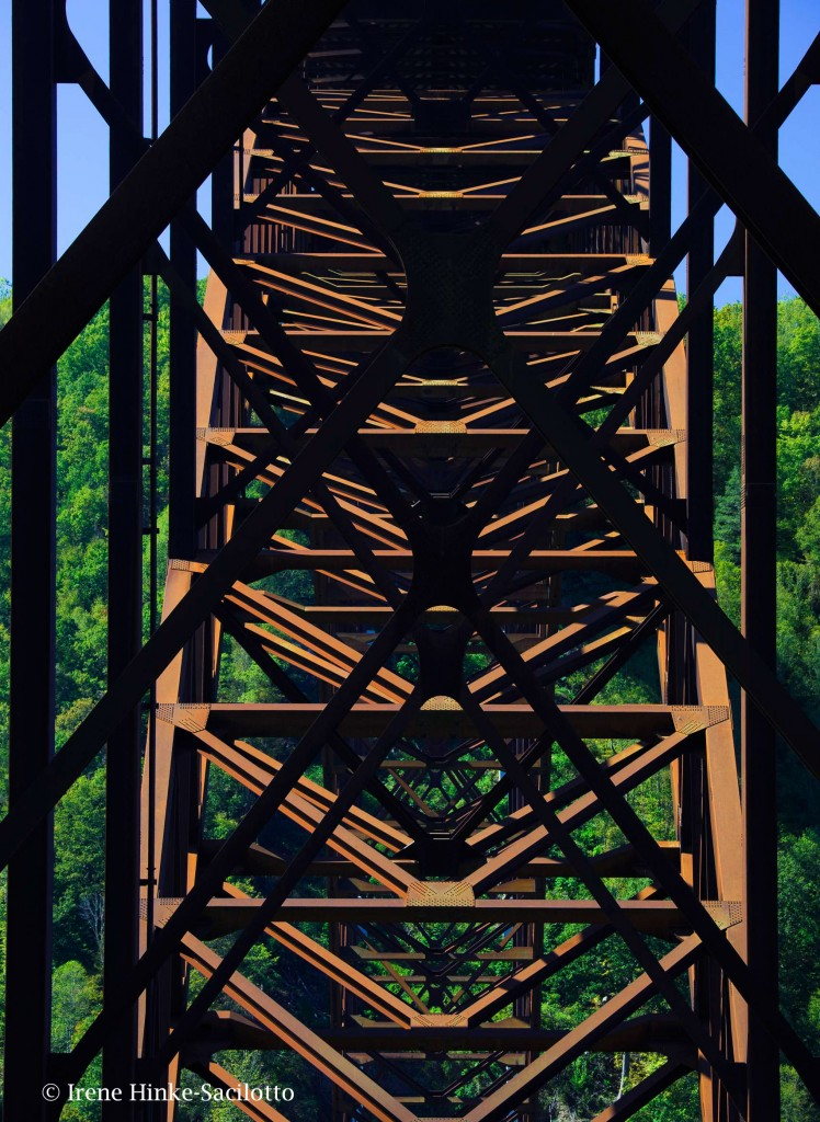 Iron structure of the New River Bridge shot from Fayetteville Station Road.
