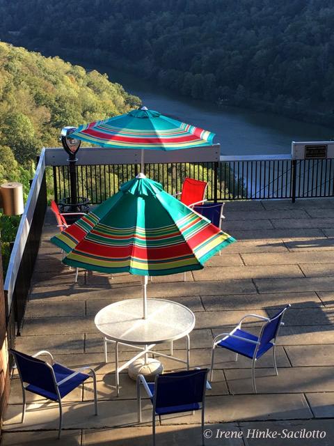 Hawks Nest Porch with umbrellas in West VA