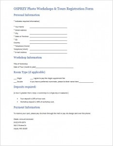 Print-ready registration form for mail or fax