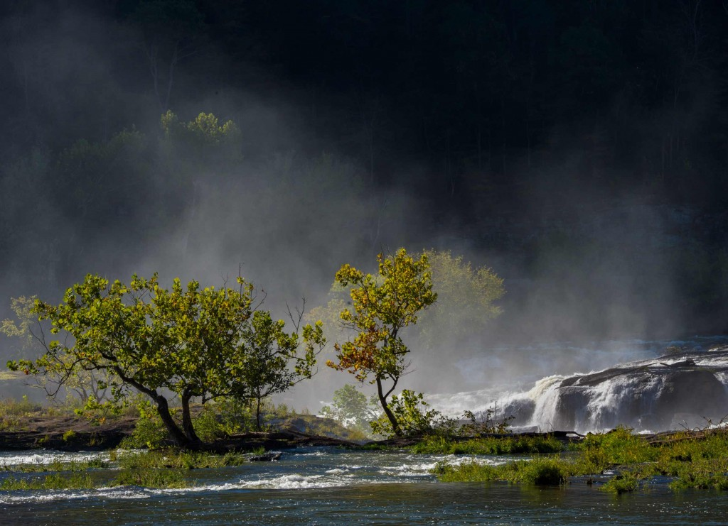 Spray from sandstone falls back lit captured during my scouting trip for my photo workshop in Southern West Virginia.