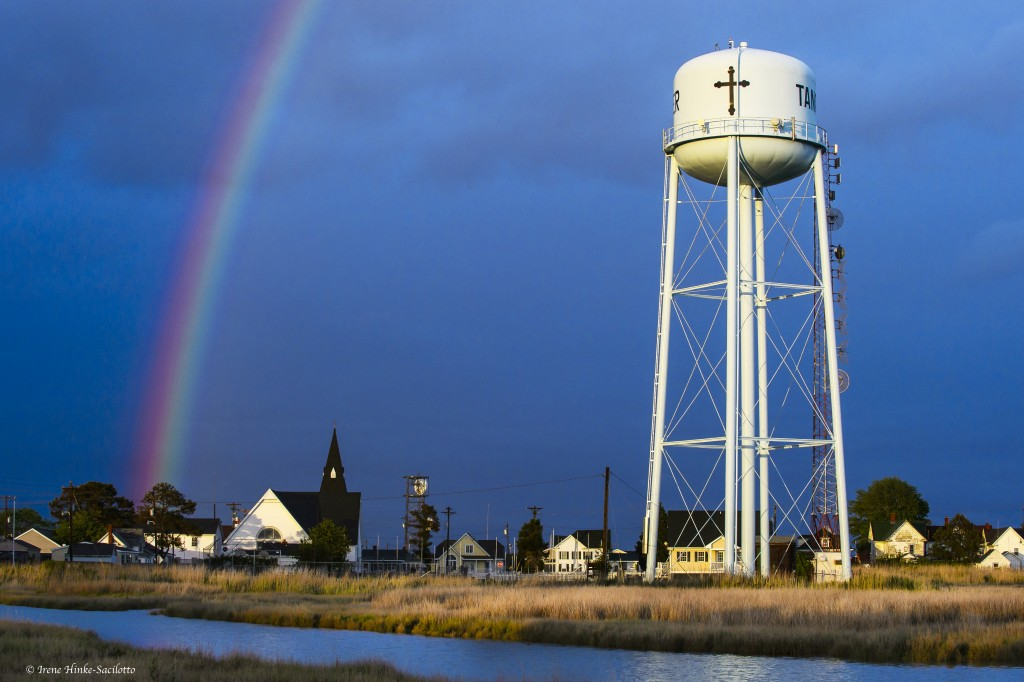 Water Tank & Rainbow on Tangier Island