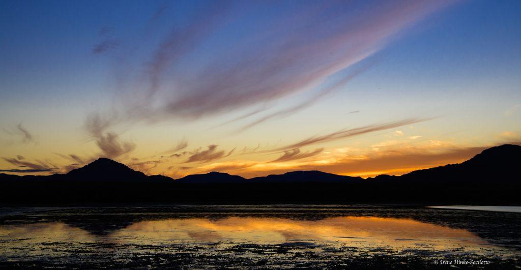 Sunset over lagoon.